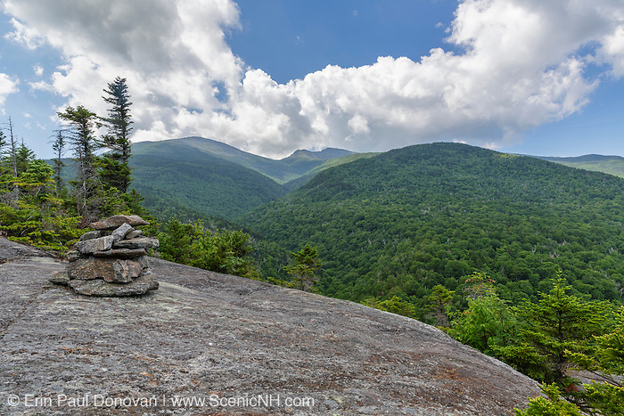 View up Snyder Brook Valley toward Mount Madison and Mount Adams from the Inlook Trail in Randolph, New Hampshire during the summer months. This trail leads to Dome Rock.