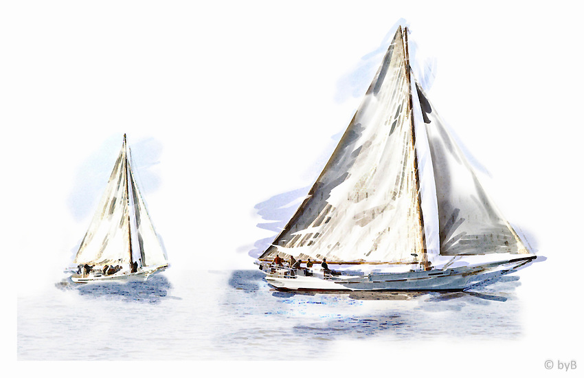 """Ghosting Home ~ A watercolor treatment from the Limited Edition """"Skipjack Sunday"""" collection.<br /> Close up detail of Ghosting Home:http://www.petersongallery.com/image/I0000dEIZEjAn1IY"""