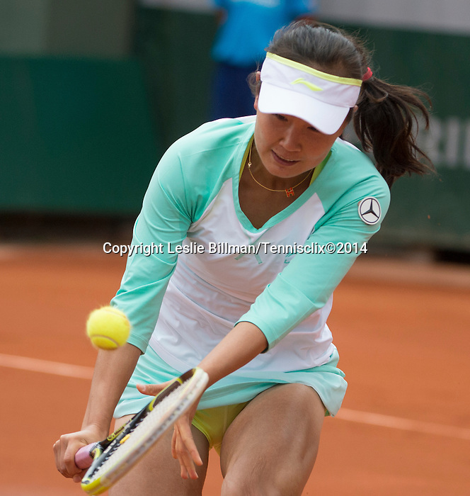 Shuai Peng (CHN) loses to Sloane Stephens (USA) 6-4, 7-6(8) at  Roland Garros being played at Stade Roland Garros in Paris, France on May 27, 2014