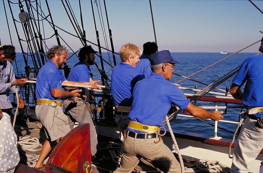 Sailors working on ELISSA. Galveston Texas.