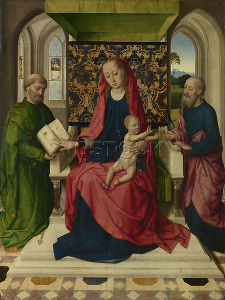 Full title: The Virgin and Child with Saint Peter and Saint Paul<br /> Artist: Workshop of Dirk Bouts<br /> Date made: probably 1460s