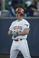 Dustin Majewski of the Texas Longhorns waits to bat during a game against the Tulane Green Wave at Goodwin Field on March 2, 2003 in Fullerton, California. (Larry Goren/Four Seam Images)