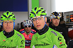 Peter Sagan (SVK) Cannondale Pro Cycling takes shelter with the remaining riders in a forecourt as they wait for the race to restart in Cogoleto after heavy snow forces the race organizers to abandon part of the race over Passo del Turchino during the 104th edition of the Milan-San Remo cycle race, 17th March 2013 (Photo by Eoin Clarke 2013)