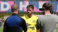 Lachlan Brook of Brentford B is interviewed after the match during Dulwich Hamlet vs Brentford B, Friendly Match Football at Champion Hill Stadium on 31st July 2021