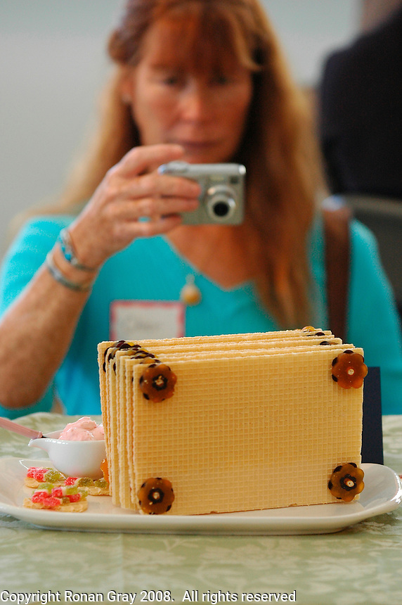 A woman photographs an edible book during the San Diego Book Arts ninth annual Edible Book Tea at the Watercolor Society Gallery, NTC Pomenade, Liberty Station, San Diego, California Saturday, April 5, 2008.  The event featured books made from edible materials amd prizes were award to the best entrants.