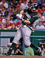 9 July 2011: Colorado Rockies outfielder Seth Smith in action against the Washington Nationals at Nationals Park in Washington, District of Columbia. The Rockies edged out the Nationals 2-1 to win the second game of their 3-game series. Mandatory Credit: Ed Wolfstein Photo