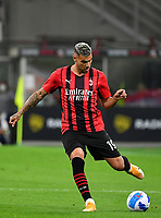 Calcio, Serie A: AC Milan - Cagliari, Giuseppe Meazza (San Siro) stadium, Milan on August 29, 2021.  <br /> Milan's Theo Hernandez in action during the Italian Serie A football match between Milan and Cagliari at Giuseppe Meazza stadium, on August 29, 2021.  <br /> UPDATE IMAGES PRESS/Isabella Bonotto