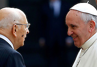 20131114 ROMA-CRONACA: GIORGIO NAPOLITANO RICEVE PAPA FRANCESCO AL QUIRINALE