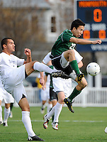 Austin Bowers (27) of the Dartmouth Big Green plays the ball. Dartmouth defeated Monmouth 4-0 during the first round of the 2010 NCAA Division 1 Men's Soccer Championship on the Great Lawn of Monmouth University in West Long Branch, NJ, on November 18, 2010.