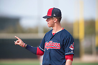 Cleveland Indians third baseman Nolan Jones (15) during a Minor League Spring Training game against the Chicago White Sox at Camelback Ranch on March 16, 2018 in Glendale, Arizona. (Zachary Lucy/Four Seam Images)