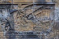 Borobudur, Java, Indonesia.  Detail Showing a Boat in Bas-relief Carvings Showing Scenes from the Life of the Buddha.