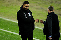 Valérien Ismaël Head Coach of Barnsley shakes hands with Steve Cooper Head Coach of Swansea City at full time during the Sky Bet Championship match between Swansea City and Barnsley at the Liberty Stadium in Swansea, Wales, UK. Saturday 19 December 2020