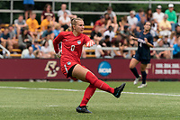NEWTON, MA - AUGUST 29: MaryKate Ward #0 of University of Connecticut clears the ball during a game between University of Connecticut and Boston College at Newton Campus Soccer Field on August 29, 2021 in Newton, Massachusetts.