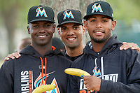 Miami Marlins Javier Lopez, Nestor Bautista, and Jarlin García poses for a photo during a minor league Spring Training game against the New York Mets on March 26, 2017 at the Roger Dean Stadium Complex in Jupiter, Florida.  (Mike Janes/Four Seam Images)