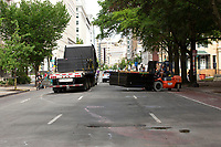 Fencing is loaded onto a truck in Lafayette Square near the White House in Washington D.C., U.S., on Thursday, June 11, 2020.  Additional fencing that had been added around the White House due to protests over the death of George Floyd is slowly being removed.  Credit: Stefani Reynolds / CNP/AdMedia