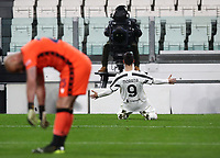 Calcio, Serie A: Juventus FC - S.S.Lazio, Turin, Allianz Stadium, March 6, 2021.<br /> Juventus' Alvaro Morata (r) celebrates after scoring, while Lazio's goalkeeper Pepe Reina (l) is disappointed, during the Italian Serie A football match between Juventus and Lazio at the Allianz stadium in Turin, on March 6, 2021.<br /> UPDATE IMAGES PRESS/Isabella Bonotto