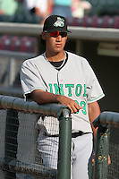 Clinton Lumberkings Omar Poveda during a Midwest League game at Fifth Third Field on July 18, 2006 in Dayton, Ohio.  (Mike Janes/Four Seam Images)