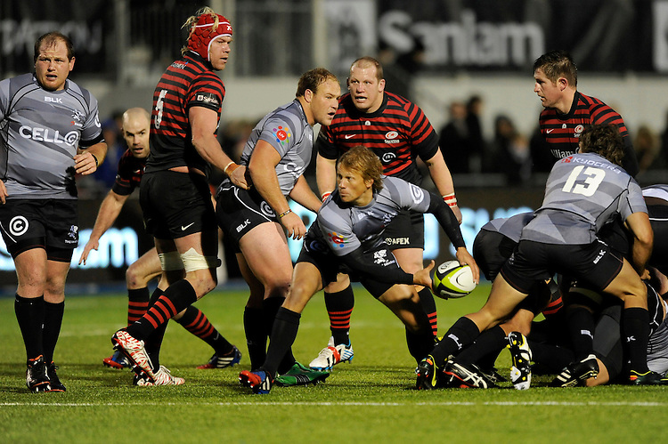 Charl McLeod of Sharks passes during the Sanlam Private Investments Shield match between Saracens and the Cell C Sharks at Allianz Park on Saturday 25th January 2014 (Photo by Rob Munro)