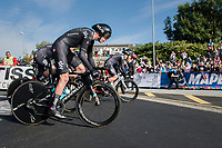 Chris Froome (GBR/SKY) accelerating out of the start box<br /> <br /> Men's Team Time Trial<br /> <br /> UCI 2017 Road World Championships - Bergen/Norway