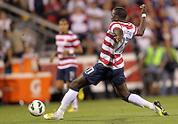 COLUMBUS, OHIO - SEPTEMBER 11, 2012:  Jozy Altidore (17) of the USA MNT streches for the ball against Jamaica during a CONCACAF 2014 World Cup qualifying  match at Crew Stadium, in Columbus, Ohio on September 11. USA won 1-0.