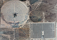 aerial photo map of the Solar Two electrical energy generation project mirrored heliostats, Daggett, California