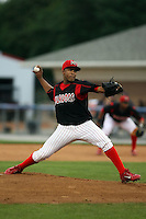 September 7 2008:  Pitcher Miguel Tapia of the Batavia Muckdogs, Class-A affiliate of the St. Louis Cardinals, during a game at Dwyer Stadium in Batavia, NY.  Photo by:  Mike Janes/Four Seam Images