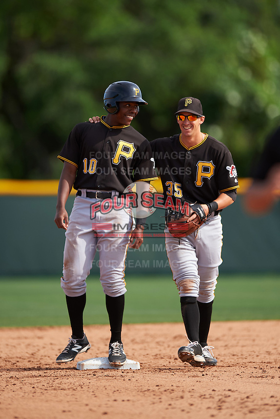 Pittsburgh Pirates Ke'Bryan Hayes (10) and Michael Fransoso (35) during a minor league Spring Training intrasquad game on April 3, 2016 at Pirate City in Bradenton, Florida.  (Mike Janes/Four Seam Images)