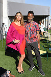 "Fashion designer Carlton Jones poses with Anna Maria Sandegren - Editor In Chief of ""Precious 7"" magazine, after his Carlton Jones Resort 2017 runway show at Le Bain in The Standard Hotel in New York City, on June 8, 2017."