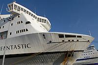 - big ferry moored in Genoa harbor ....- grande traghetto ormeggiato nel porto di Genova