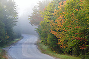 Trudeau Road in Bethlehem, New Hampshire during the autumn months.