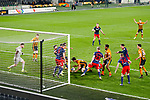 A goalmouth scramble Hull look for an equaliser. Hull 2 Sunderland 2, League One 20th April 2021.