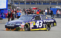 Feb 21, 2009; Fontana, CA, USA; NASCAR Sprint Cup Series driver Reed Sorenson after crashing during practice for the Auto Club 500 at Auto Club Speedway. Mandatory Credit: Mark J. Rebilas-