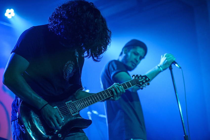 """Guitarist Argel and vocalist Alberto perform as Old Hounds open during the release party for Turquoise Boy's first album """"24 Hours a Night"""" at Williwaw. Photo by James R. Evans"""