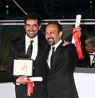 SHAHAB HOSSEINI, WINNER OF THE BEST ACTOR AWARD FOR THE FILM 'THE SALESMAN' WITH DIRECTOR ASHGAR FARHADI, WINNER OF THE BEST SCREENPLAY AWARD FOR THE FILM 'THE SALESMAN' - PHOTOCALL OF THE WINNERS AT THE 69TH FESTIVAL OF CANNES 2016