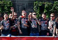 Duesseldorf, Germany, 2. Bundesliga, promotion to 1. Bundesliga of  Fortuna Duesseldorf, team celebrates at Rathausmarkt of Duesseldorf, 14.05.2018<br /> Niko GIESSELMANN (F95) 3.v. *** Local Caption *** © pixathlon<br /> Contact: +49-40-22 63 02 60 , info@pixathlon.de