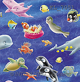 Interlitho, Lorella, GIFT WRAPS, paintings, whale, dolphin, seal(KL7051,#GP#) everyday