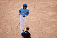 Buffalo Bisons Santiago Espinal (2) rounds the bases after hitting a home run during an International League game against the Pawtucket Red Sox on August 25, 2019 at Sahlen Field in Buffalo, New York.  Buffalo defeated Pawtucket 5-4 in 11 innings.  (Mike Janes/Four Seam Images)