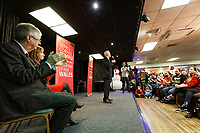 Pictured: Jeremy Corbyn (C) speaks to supporters at Barry Island Sports and Social Club. Saturday 07 December 2019<br /> Re: Labour Party leader Jeremy Corbyn pre-election campaign in Barry, south Wales, UK.