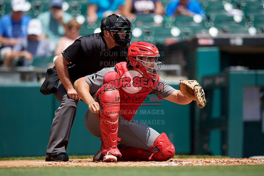 Umpire Mike Wiseman and Lehigh Valley IronPigs catcher Matt McBride (30) await the pitch during an International League game against the Buffalo Bisons on June 9, 2019 at Sahlen Field in Buffalo, New York.  Lehigh Valley defeated Buffalo 7-6 in 11 innings.  (Mike Janes/Four Seam Images)
