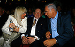 Jewish American billionaire Sheldon Adelson, Center, Prime Minister Benjamin Netanyahu, right, and Adelson's wife, Miriam during a Taglit event in Jerusalem Sunday Aug 12 2007 . Photo by Eyal Warshavsky.
