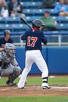 Tzu-Wei Lin (17) of the Salem Red Sox at bat against the Winston-Salem Dash at LewisGale Field at Salem Memorial Ballpark on May 14, 2015 in Salem, Virginia.  The Red Sox defeated the Dash 1-0.  (Brian Westerholt/Four Seam Images)