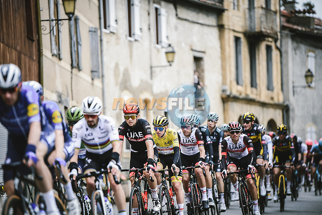 Yellow Jersey Tadej Pogacar (SLO) UAE Team Emirates in the peloton during Stage 17 of the 2021 Tour de France, running 178.4km from Muret to Saint-Lary-Soulan Col du Portet, France. 14th July 2021.  <br /> Picture: A.S.O./Pauline Ballet   Cyclefile<br /> <br /> All photos usage must carry mandatory copyright credit (© Cyclefile   A.S.O./Pauline Ballet)