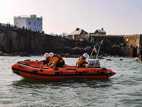 Dun Laoghaire RNLI inshore boat at the Forty Foot on Dublin Bay