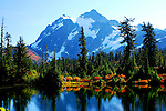 Fall colors and Mt. Shuksan reflected in Picture Lake on the North Cascade Range of Washington State