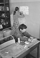 In the classroom, Scotland Road Free School, Liverpool  1971.  Also known as the Scotland Road or Scottie Road Free School it was founded and run by two teachers, John Ord and Bill Murphy (if I've got these names wrong, please tell me!) who worked with truanting kids and provided somewhere to go and things to do.  They begged and borrowed an old building, desks, books and an old ambulance for trips.