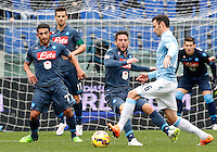 Calcio, Serie A: Lazio vs Napoli. Roma, stadio Olimpico, 18 gennaio 2015.<br /> Lazio's Stefan Radu, right, is challenged by Napoli's Dries Mertens during the Italian Serie A football match between Lazio and Napoli at Rome's Olympic stadium, 18 January 2015.<br /> UPDATE IMAGES PRESS/Riccardo De Luca