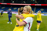 SOLNA, SWEDEN - APRIL 10: Lindsey Horan #9 of the United States celebrates during a game between Sweden and USWNT at Friends Arena on April 10, 2021 in Solna, Sweden.