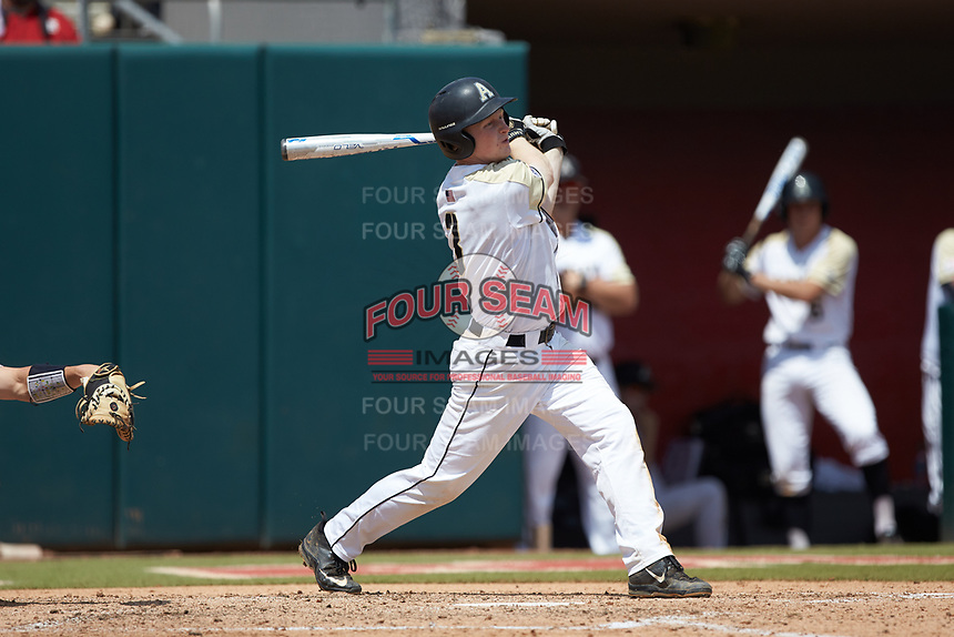 Josh White (3) of the Army Black Knights follows through on his swing against the North Carolina State Wolfpack at Doak Field at Dail Park on June 3, 2018 in Raleigh, North Carolina. The Wolfpack defeated the Black Knights 11-1. (Brian Westerholt/Four Seam Images)
