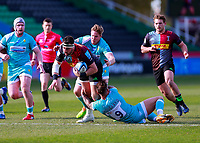 17th April 2021; Twickenham Stoop, London, England; English Premiership Rugby, Harlequins versus Worcester Warriors; Scott Baldwin of Harlequins carries over the gain line while being held by Hougaard of Worcester warriors