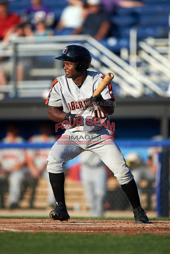 Aberdeen Ironbirds second baseman Kirvin Moesquit (10) squares to bunt during a game against the Batavia Muckdogs on July 14, 2016 at Dwyer Stadium in Batavia, New York.  Aberdeen defeated Batavia 8-2. (Mike Janes/Four Seam Images)